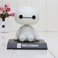big head toy - 10CM Big Hero Baymax Robot Bobble Head Toys Car Toys PVC Action Figure Toy Car Accessories Shaking his head