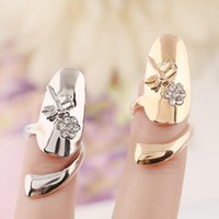 nail charms - Daily Deals Crystal flower Dragonfly design Nail Rings silver Gold plated Finger Adjustable ring vintage charm Queen jewelry for women