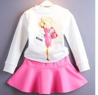 ballet outfits - 2016 Autumn Girls Barbie doll Pattern Dress Suits Long Sleeve Cartoon Pullover Tshirt Ballet Skirt Princess girl suit Outfits