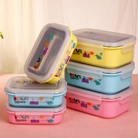 Cheap Hot Stainless Steel Lunch Box For Kids Food Container Cartoon Student Bento Box Thermal Insulation Lunchbox Dinnerware JH0026 Salebags