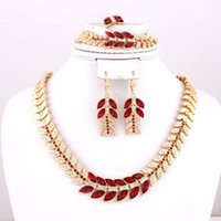 Wholesale 20104 New Fashion Leaves Pattern Crystal Rhinestone Necklace For Women Bridal Wedding Party African Jewelry Sets