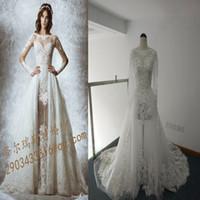achat en gros de zuhair échantillon murad-2015 haute qualité zuhair murad dentelle robes de mariée à manches longues Détachable cathédrale vraie robe de mariage échantillon perlé des robes de mariage sur mesure