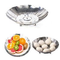Wholesale Stainless steel retractable steamer rack drip tray drain basket fruit dish bowl plate steaming rack steaming plate steamer