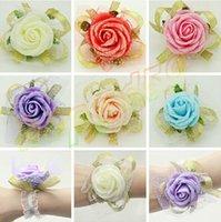 Wholesale free ship woman wedding handmade bridal wrist flower bridesmaid simulation rose flower wrist hand lady wrist flower sisters flower