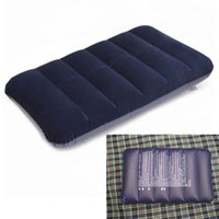 air plane seats - Portable Folding Flocking Inflatable Pillow Dark Blue Travel Cushion Air Pillow for Outdoor Office Plane Hotel order lt no track