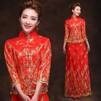 traditional chinese wedding dress - Hot Sale Traditional Chinese Dress Cheongsam Chinese Wedding Dress High Collar Long Cheongsam Qipao Dress Luxury