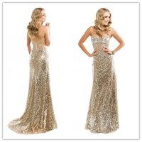 Wholesale 2015 Gold Illustion Sweetheart Sheer Illustion Sheath Crystal Sparkle Sequins Formal Prom Evening Long Dress Custom Made