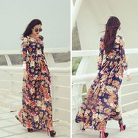 Cheap 2015 Hot Summer Boho Long Tops Chiffon Party Dress Fashion Lady Chic Stylish Print Floral Maxi Dress Wholesale Free Shipping