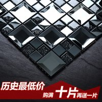 Wholesale Jasmine black modern living room entrance backdrop glass mosaic tile puzzle metal mirror stickers