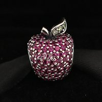apple pandora - 925 Sterling Silver Apple Charm with Red and Green Cz Fits European Pandora Jewelry Bracelets Necklaces