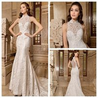 Cheap Demetrios 2015 Sheath Wedding Dresses Sheer High Halter Neckline Sleeveless Beaded Appliques Covered Button Chapel Train Bridal Gowns