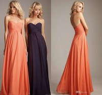 Cheap Hot Sale Under $50 Cheap Chiffon Bridesmaid Dresses Floor Length A Line Orange Long Prom Dress Zipper Back Sweetheart Bridesmaid Dress