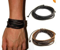 Wholesale High quality Genuine Leather Bracelets Wrap Multilayer Braided charm Rope Fashion Men Women handmade Jewelry New