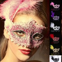 Wholesale Colorful Carnival Masks - Feather Masquerade Halloween Party Masks with Lace Sequins Colorful Sexy Carnival Dance Half Face Mask For Christmas cosplay fancy wedding