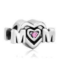 big hole beads - Metal Slider Spacer Big Hole Pink Crystal Heart Mom European Bead Fit Pandora Chamilia Biagi Charm Bracelet