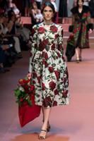 Wholesale Luxury Hot sale autumn New Flower Print Women Maxi Dress Fashion Long Sleeve Catwalk Dresses L8130