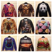 Wholesale 2015 New Winter Women Men Space print Galaxy hoodies Sweaters Pullovers panda tiger cat animal D Sweatshirt Tops T Shirt