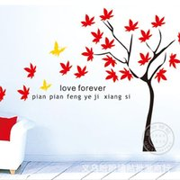 autumn leaves decor - 10pcs wall stickers home decor Manufacturers DIY living room corridor removable wall stickers decorative red autumn maple leaves D