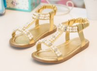 Wholesale Fashion shoes baby lovely sandals with Pearls Princess Shoes hot sale Kids Low heeled Flats colors DHL free MOQ SVS0015
