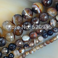 faceted gemstones - mm Faceted Coffee Striated Agate Round loose stone jewelry Beads Natural Gemstone agate Beads