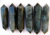 quartz crystal point - Natural labradorite quartz crystal wand POINT HEALING mm