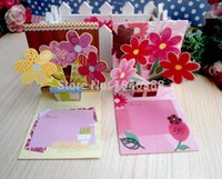 Wholesale 3D card cm mixed patterns d pop up flowers birthday greeting card with envelope present thank you gift cards A5