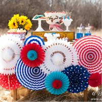 Wedding blue tissue paper - DIY Color Paper Fan Artificial Flower Foldable Tissue Proms Flower Ball Wedding Festive Craft Decoration Party Supplies SK544