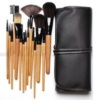 Wholesale On Sale Soft Synthetic Hair make up tools kit Beauty Makeup Cosmetic Brushes Black Sets with Leather Case sets DHL
