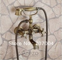 bathtub shower combo - Antique Brass Bathroom Wall Mounted Shower Mixer Set Faucet Combo W Bathtub Tap Dual Handles With Hand Shower Cheap Elegant