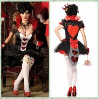 Wholesale Halloween Costume Queen of Hearts playing card suits Las Vegas casino tycoon uniform dress code division