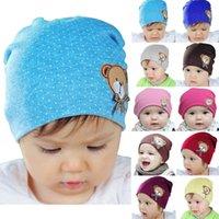 achat en gros de crochet porte bébé-Nouveautés Nouveau-né bébé Enfants Enfants Chapeau chaud Crochet mignon ours en coton Beanie Hats Caps Livraison gratuite fx305