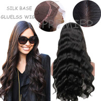 1# base making - Silk Top Glueless Full Head lace Front Wigs Brazilian Virgin Hair Natural Color Natural Wave Glueless Cap Size X4 Silk Base