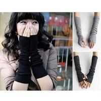 Wholesale 2014 Winter Gloves Fashion Stylish Girls Long Knit Wrist Fingerless Gloves Warm Gloves Arm Knitted Gloves Mittens WA2