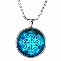 amethyst decor - Christmas snowflake necklace Alloy resin sources emitting Luminous drawing necklace Pendant Necklace For Women Jewelry christmas decor