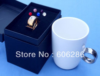 Wholesale Party favors Novelty Crystal Diamond Carat Ring Ceramic Cup Valentine s Cup lovers mug
