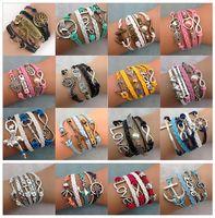 Wholesale Cross Love Bracelets - DIY Infinity Bracelets Charm Bracelets Antique Cross Bracelets Hot sale 55 styles fashion Leather Bracelets Multilayer Bracelets sl009