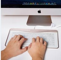 Multimedia apple computer gifts - Dad s Best Gift Bastron Transparent Glass Touch Smart Keybaord Touch Keyboard Aluminium Glass keyboard for Apple Mac OSX Windows PC Computer