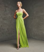 apple lim - 2015 LAN A Line Evening Dresses Lim Green Chiffon Strapless Sweep Train Sleeveless Backless Prom Dresses Pleated Evening Gowns Split Front