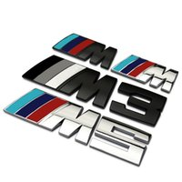 Wholesale New Big Mpower M tech on Car Trunk Badge Emblem D Pure Metal Front Hood Grille Sticker logo M M3 M5 for BMW Car Styling Sticker