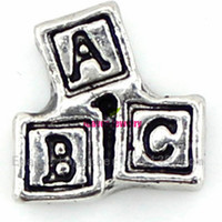 Charms abc baby blocks - New fashion Hot ABC Baby Block Newborn Boy Girl Floating Charm For Glass Living Memory Locket best gifts for my dear