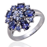 accent gemstones - Natural Iolite Tanzanite Gemstone Diamond Accents Solid Sterling Silver Ring Womens jewelry