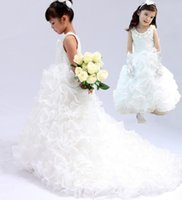 Wholesale Princess Organza Tiered Flower Girl Dress Latest from Eiffelbride with Cute Lace Jewel Neckline Long Train Pageant Girl s Dresses