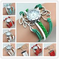 Los nuevos relojes calientes del infinito miran la señora Wrap Watches de la pulsera de la armadura de los encantos El corazón doble ideal del estilo del reloj del cuero del corazón de la cruz del amor libera el envío