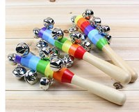 bell machines - New Hot Sale Cartoon Baby Rattle Rainbow Rattles With Bell Wooden Toys Orff Instruments Educational Toy Pieces
