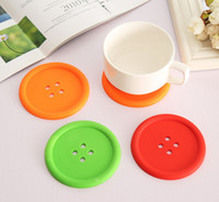 bamboo placemats - Kitchen Tools Round silicone coasters cute button coasters Cup mat Home Drink Placemats Tableware Coaster DHL