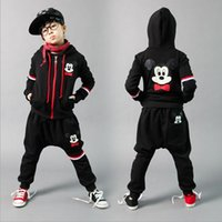 athletic clothes - 2015 Childrens Korean Style Outfit Best Sale Boys Autumn Clothing Kids Cartoon Athletic Casual Set Hooded Jacket And Haren Pants Set