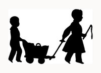 Cheap Wholesale Children With Wagon Sticker Old Style Boy Girl Child for Car Window Decal Play Love