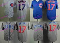 Wholesale Chicago Cubs Kris Bryant Baseball Cool Base Jersey Best quality Authentic Jerseys Embroidery Logo Size M XL Mix Order