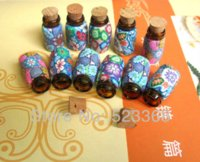 Wholesale ml DIY jewelry polymer clay mini glass essential oil bottle pendant Wishing Bottles Vials With Cork containers