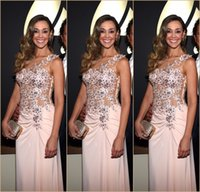 Wholesale 2015 Grammy Celebrity Gowns Sheer Bateau Neck Beaded Lace Appliqued Sheath Floor length th Red Carpet Dresses Evening Gowns